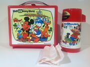1970 Red Walt Disney World Plastic Lunch Box And Thermos From England Rare