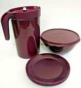 Tupperware Open House Set 1 Gal Infusion Pitcher 10-12 Cup Bowl 8 Plates Merlot