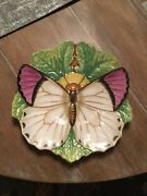 19th Century Minton Majolica Butterfly On Leaf Plate