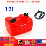 Portable 12l Outboard Boat Marine Fuel Gas Tank W/ Male Connector + Fuel Line Us