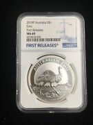 2018-p Australia 1 Oz Silver Emu 1 Ngc Ms69 First Releases Blue Label
