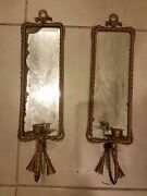 Brass Beveled Mirror Candle Holder Pair Of Decorative 4.5x17.5 Vintage Antique