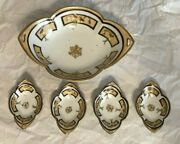Vintage Nippon Hand-painted Nut Dish Set Five Pieces