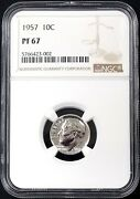1957 Proof Roosevelt Dime Certified Pf 67 By Ngc