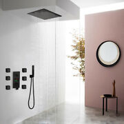 12 Inch Square Thermostatic Rainfall Head Shower Set With 6 Massage Jets+arm