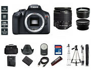New Canon Eos Rebel T6 Dslr Camera With 18-55mm Zoom Lens 3 Lenses + Tripod