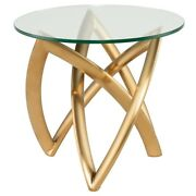 23.8 W Set Of 2 Glass Top Side Table Brushed Gold Stainless Steel Modern Base