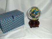 Vntg Asian Reverse Blue Birds Glass Paperweight Crystal Ball Stand Box Signed