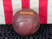 Vintage 1940s Everest Leather Soccer Ball Laces 12 Panel Football Great Display