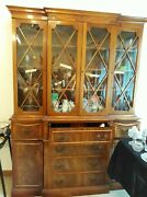 Antique Flame Mahoghany Hutch And Desk W Key.