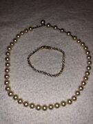 Vintage Costume Pearl Hand Knotted Necklace With Faux Diamond Tennis Bracelet