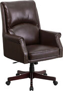 Traditional High Back Pillow Back Brown Leather Executive Swivel Office Chair