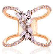 18k Rose Gold 1.20ctw Diamond Cascading Waterfall Closed Cuff Ring Size 7.5