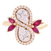 18k Rose Gold 1.01ctw Diamond And Ruby Swirl Leaf And Vine Vintage Style Pear Ring