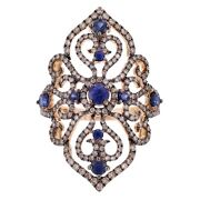 18k Rose And Black 1.60ctw Sapphire And Brown Diamond Vintage Style Filigree Ring