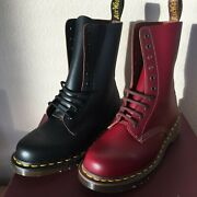 New Dr. Martens Vintage 1490 Boots Made In England 10 Eyelet Leather Boots