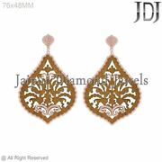 Indian Antique Pave Diamond Wooden Hanging Earring 14k Rose Gold Wedding Jewelry