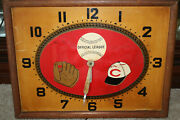 Antique 1950and039s Cincinnati Reds / Burger Brewing Co. Electric Baseball Clock