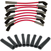 Hinson Red Truck/suv Performance Spark Plug Wire Set With Black Heat Boots