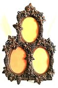 Picture Frame Rococo Naturalistic Carved Grape Cluster Miniature 16t 5x3