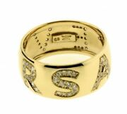 Gianni Versace Ladies Pave Diamond Logo Ring In 18k New In Box With Certificate