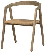 23 W Set Of 2 Rustic Dining Rounded Solid Wood Frame Natural Fiber Seat
