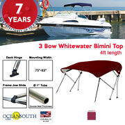 3 Bow Bimini Top Boat Cover 75 - 83 Width 4ft Long Maroon With Support Poles
