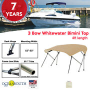 3 Bow Bimini Top Boat Cover 83 - 90 Width 4ft Long Sand With Support Poles