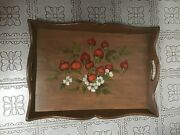 Large Vintage Hand Painted Wood Serving Tray Fruit Painted Serving Tray