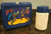 Vintage 1982 Batman Robin And Joker Blue Thermos Lunchbox With Thermos Complete