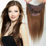 100 Remy Human Hair U-part Clips In One Piece 3/4 Half Weft Cap Wig 16-24inch