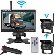 Wireless 7 Hd Monitor Rvs Truck Harvester Rearview System +2x Car Backup Camera