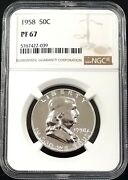 1958 Proof Franklin Silver Half Dollar Graded Pf 67 By Ngc