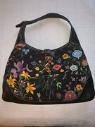 Jackie O Hobo Floral Bag In Black . Used Once For A Photo Shoot In La