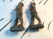 Antique Wwi Elastolin Germany Two Paper Mache Toy Figurine Soldiers 4 Inches