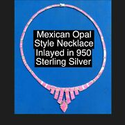 Taxco 950 Sterling Silver Faux Opel Necklace Great Color Stands Out In A Crowd
