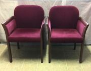 Set Of 2 Authentic The Gunlocke Company Mid Century Walnut And Velour Arm Chairs