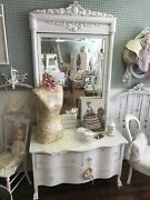 Antique Dresser / Chest With Large Mirror - Shabby Chic Distressed