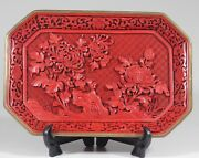 Vintage Old Chines Cinnabar Lacquer Rectangular Tray Plate 1175
