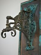 Unique Antique Gothic Victorian Wall Hanger Hook Winged Dragon Fishes Ornate