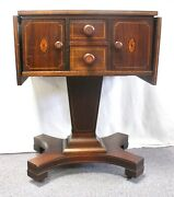 Antique Mahogany Sewing Work Side Table.drop-leaf Sides. Inlaid Doors + Pulls.