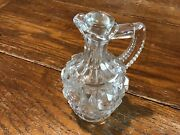 Early Clear Blown Glass Cruet Decanter Pressed With Stopper 5 3/4 Nice Pontil