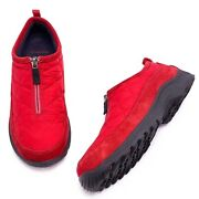 Lands End 8b Red Nylon Suede Quilted Top Zip Comfort Loafers Clogs Shoes