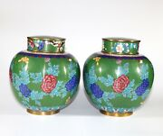 Pair Late Qing Or Republic 19th/20th Century Chinese Cloisonne Cover Jars, 957e