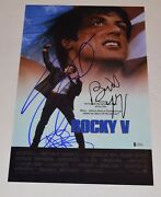 Rocky V 5 Cast Signed 11x17 Poster Sylvester Stallone Shire Young Beckett Coa