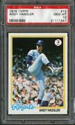 1978 Topps 73 Andy Hassler Royals Psa 10 21111341