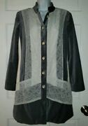 Chicos Gray Velvet Ivory Floral Lace Tunic Cocktail Crystal Jacket Blazer 8