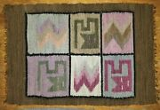 4 Small Rug Table Mats Flat Weave Native American Geometric Vintage22l
