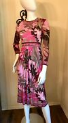 Vintage 1960's Emilio Pucci Mod Abstract Floral Print Silk Knit Dress S
