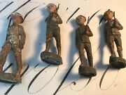 Four Wwi Elastolin Germany Paper Mache Malitia Soldiers Antique Toy Figurines